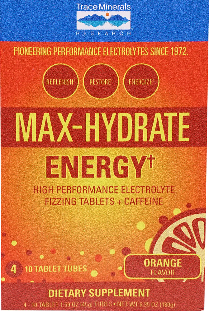 Trace Minerals Research Max-Hydrate Energy Orange - 4 10 Tablet Tubes: отзывы и инструкция как принимать