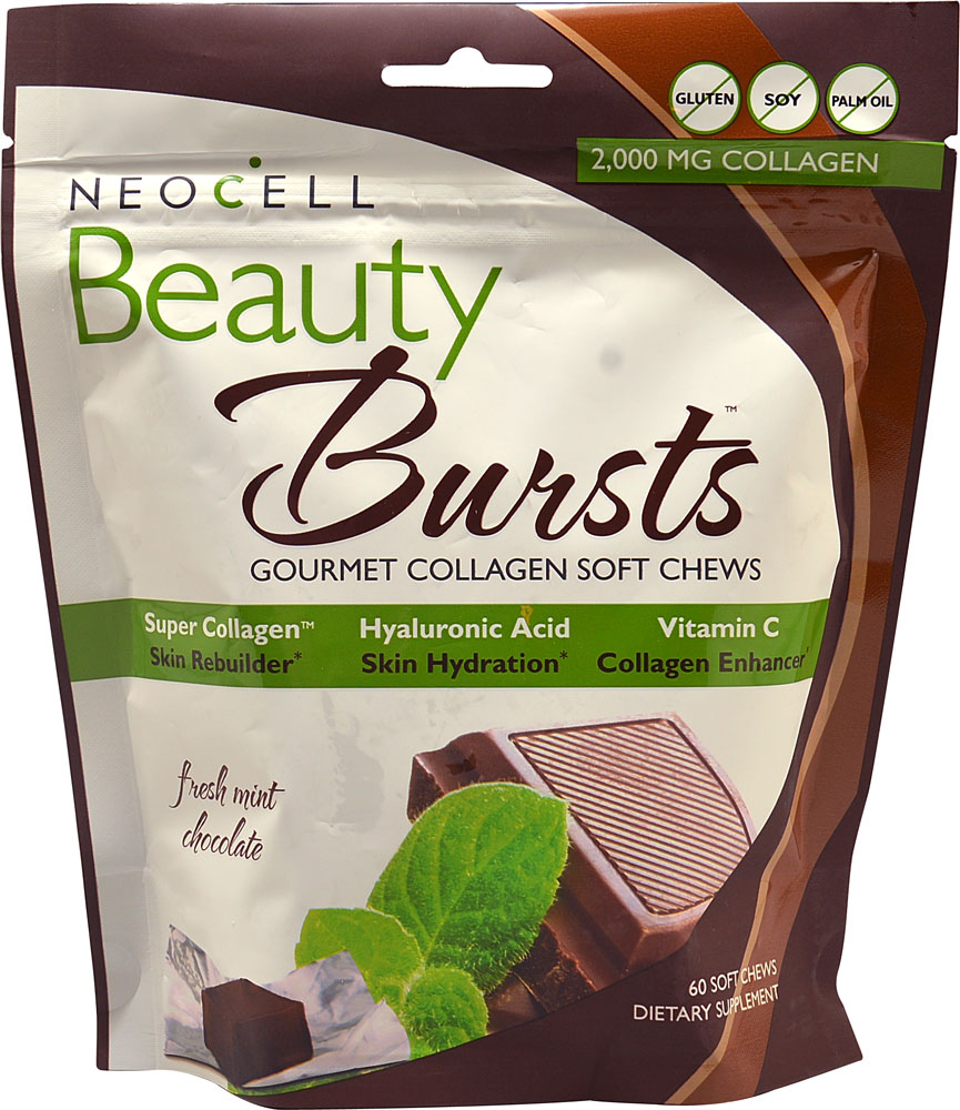 NeoCell Beauty Bursts Gourmet Collagen Soft Chews Fresh Mint Chocolate - 2000 mg - 60 Soft Chews: отзывы и инструкция как принимать