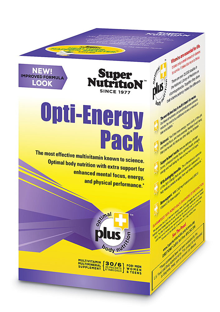 Super Nutrition Opti-Energy Pack Anti-Aging Potency Multi-Vitamin Gluten Free - 30 пакетов: отзывы и инструкция как принимать