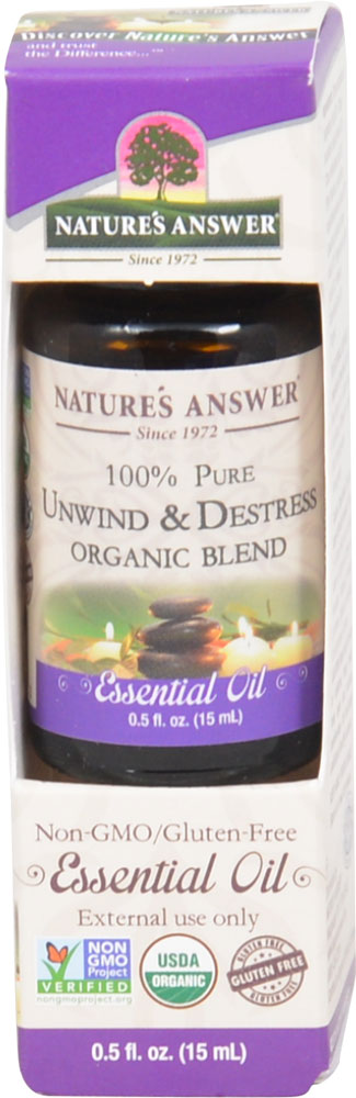 Nature's Answer 100% Pure Organic Essential Oil Blend Unwind & Destress - 0.5 fl oz: отзывы и инструкция как принимать