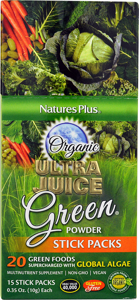 Nature's Plus Organic Ultra Juice Green® Powder Stick Packs - 15 Stick Packs: отзывы и инструкция как принимать